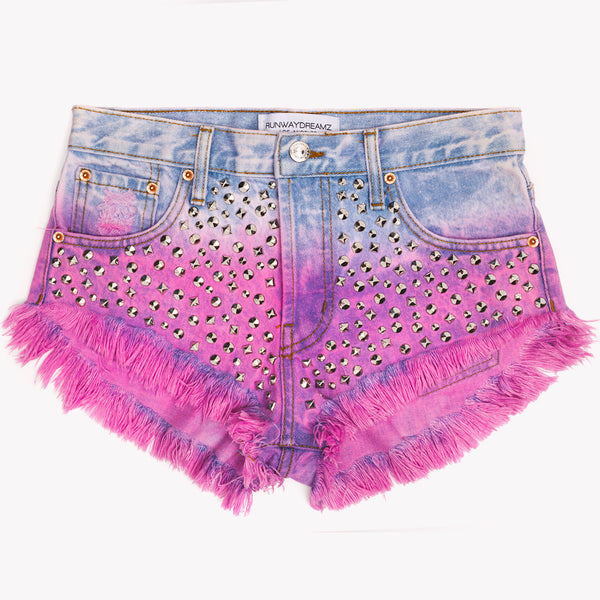 Dreamscape Rose Ombre Studded Babe Shorts
