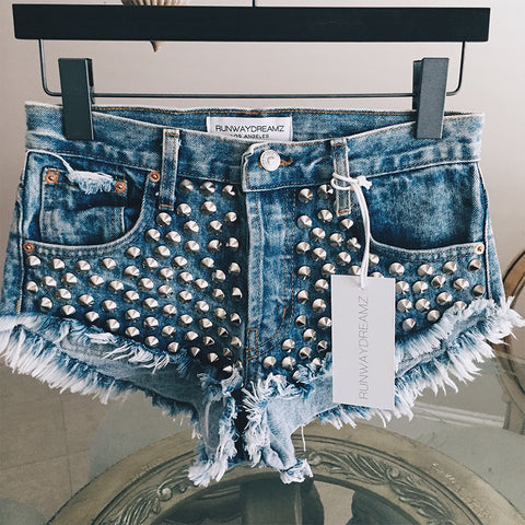 Spiked Acid Studded Babe Shorts