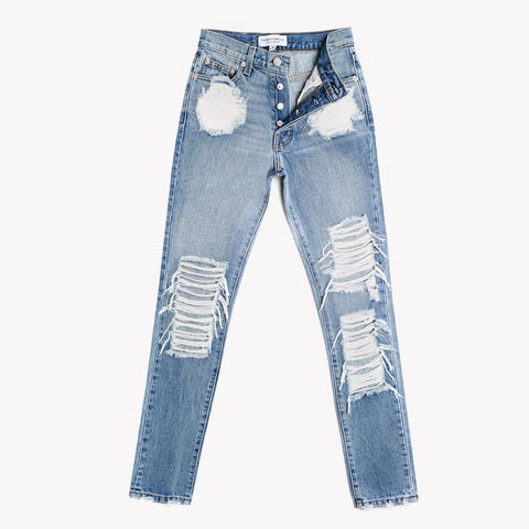 Skinny Aged Distressed High Rise Jeans