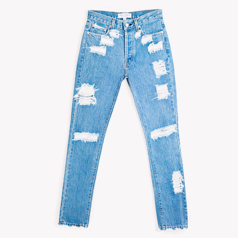 Skinny Distressed Stone High Rise Jeans