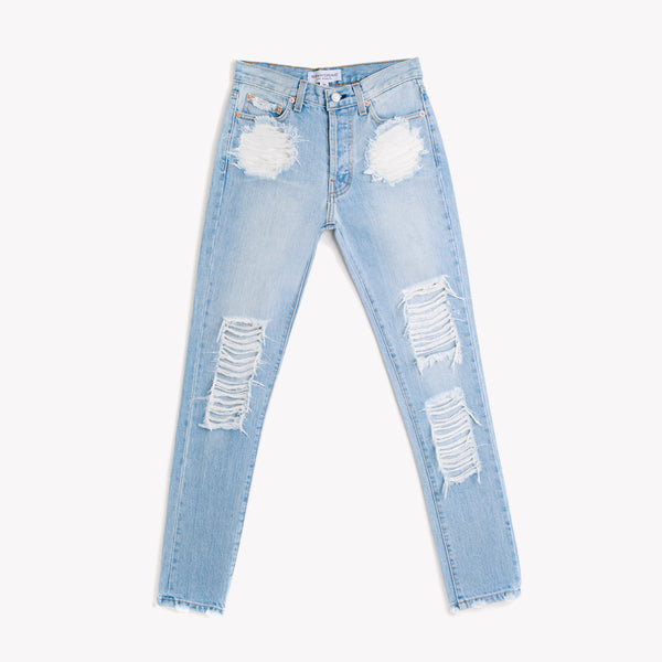 Skinny Light Aged Distressed High Rise Jeans