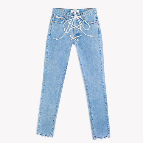 Lace Up High Rise Stone Jeans