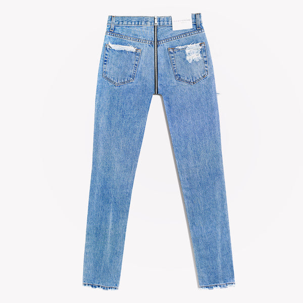 Zipper Back High Rise Stone Jeans