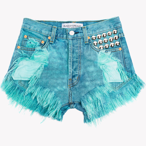 450 Turquoise Studded High Waist Shorts