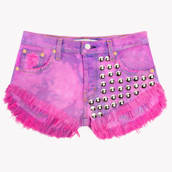 477 Pink Clouds Studded Cut Off Shorts
