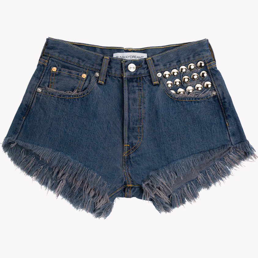 450 Raven Studded Vintage High Waist Shorts