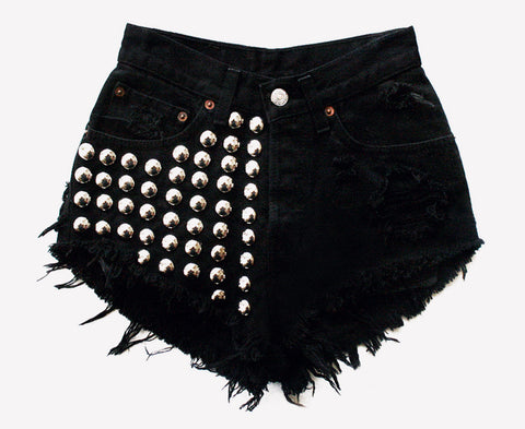 Treasure Black Half Studded Vintage Shorts