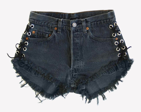 Lace Up Vintage Black Cut Off Shorts