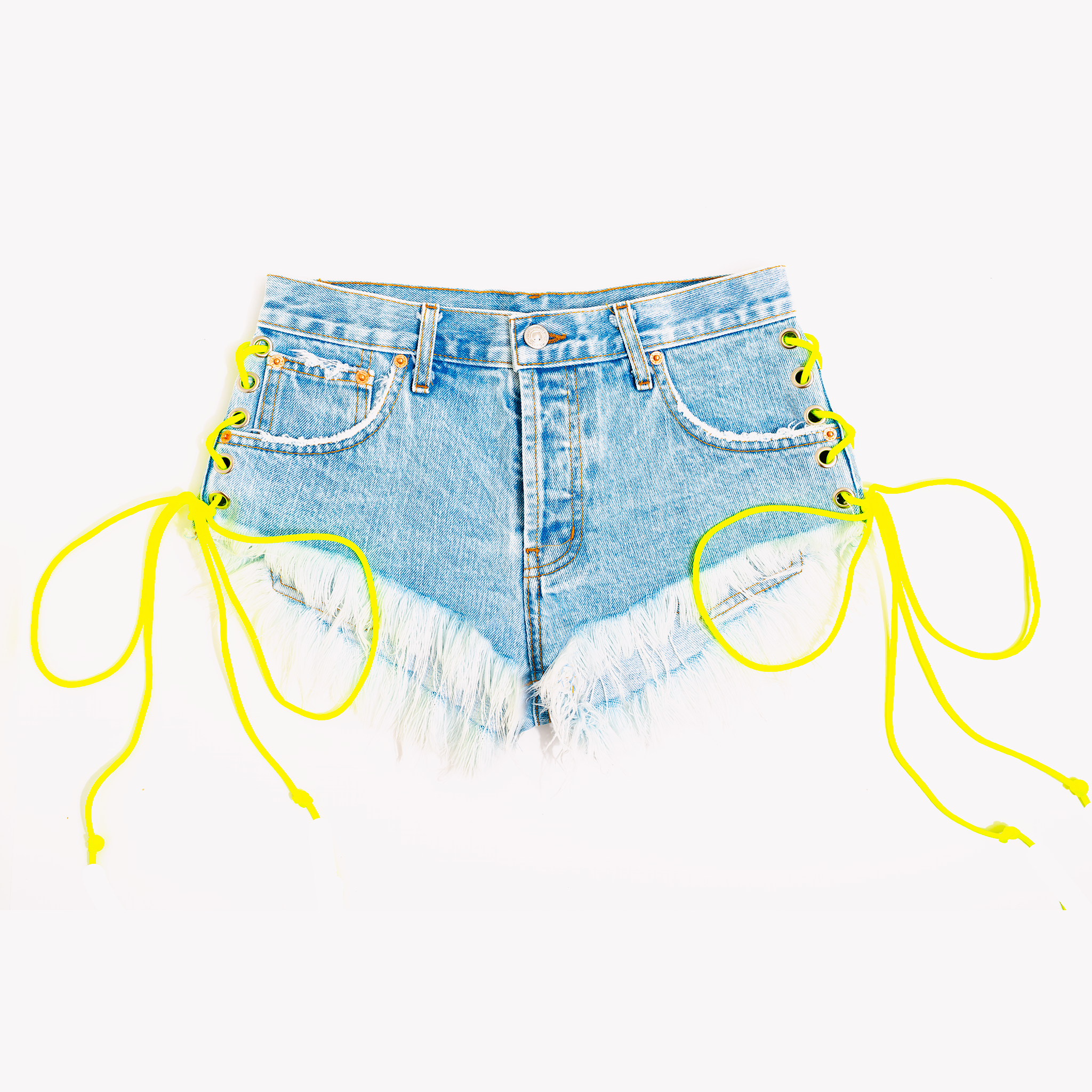 Neon High Waisted Side Lace Up Babe Shorts