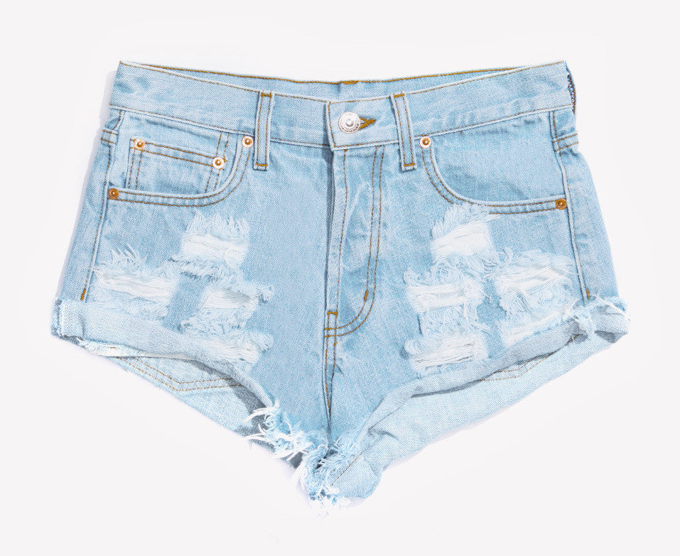 Distressed Pale High Waisted Roller Shorts