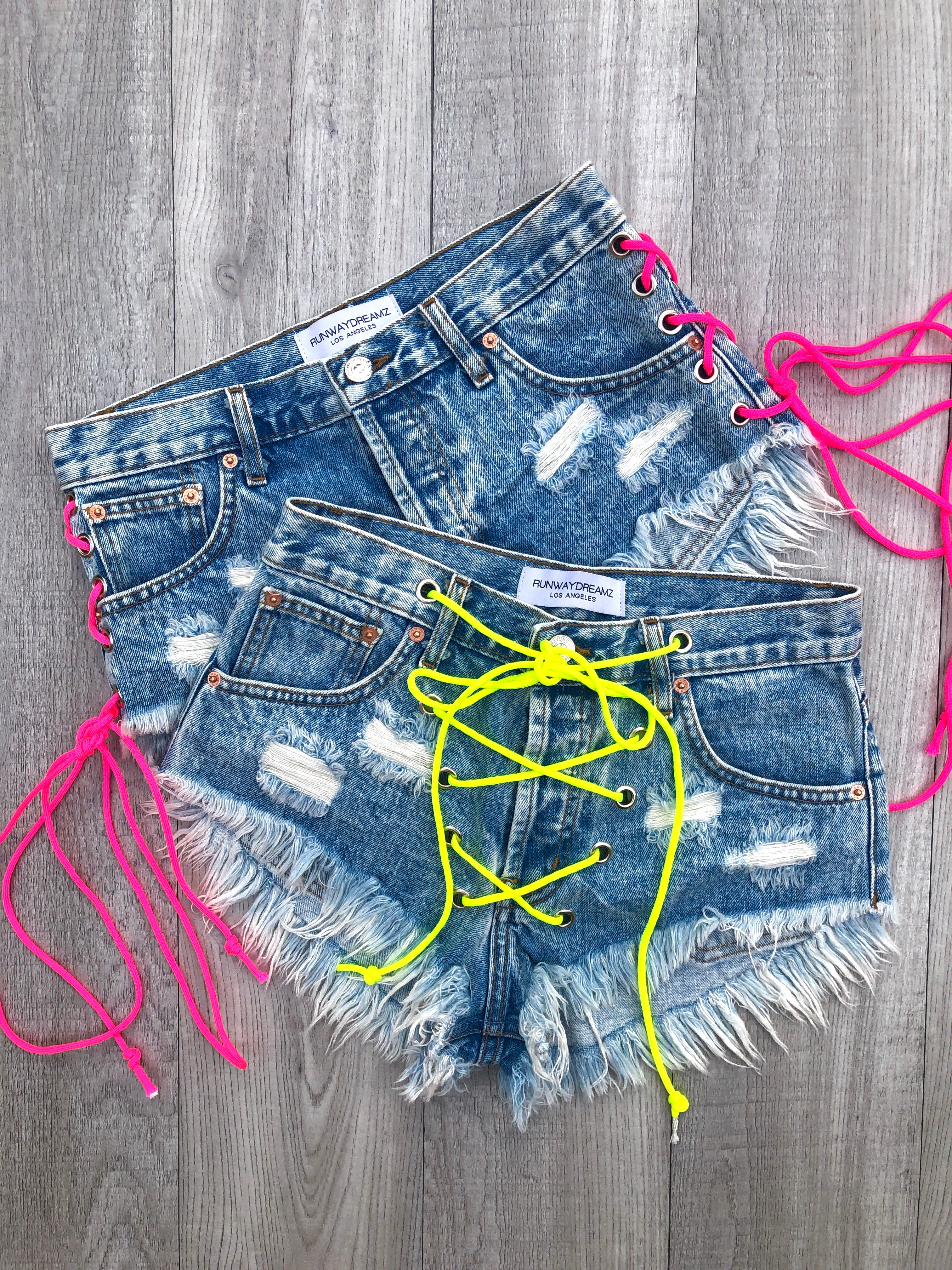 Rodeo Neon Lace Up Stoner Vintage Shorts