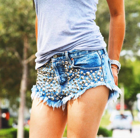 Starstruck Acid Studded Babe Shorts