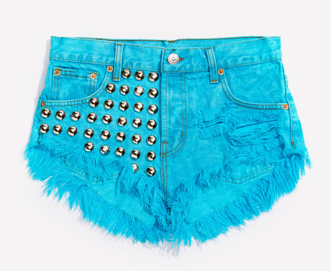 Treasure Aqua Studded Babe Shorts