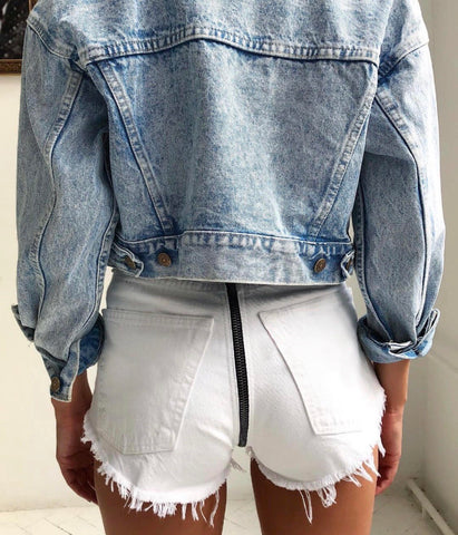 Zipper Back White High Waisted Vintage Shorts