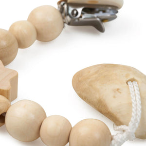 Natural Violet Iris Root Teether & Wooden Pacifier Chain Set - Get Leche