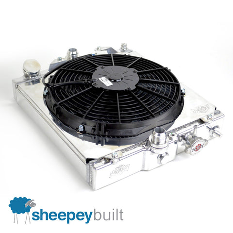Sheepey Built x CSF - Half-Size Radiator & Fan Kit (Honda Civic Integra & Mitsubishi Evo 7 8 9)