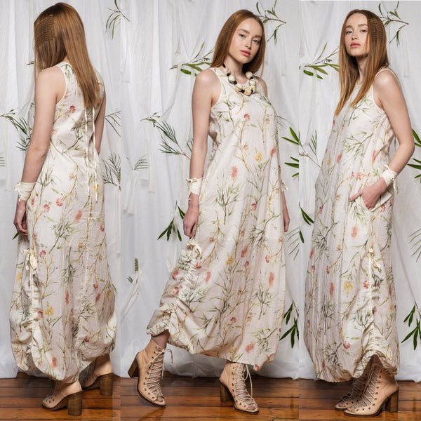 Marmalade dress, Australian made clothes, cotton clothing, Botanical print, Made in Australia