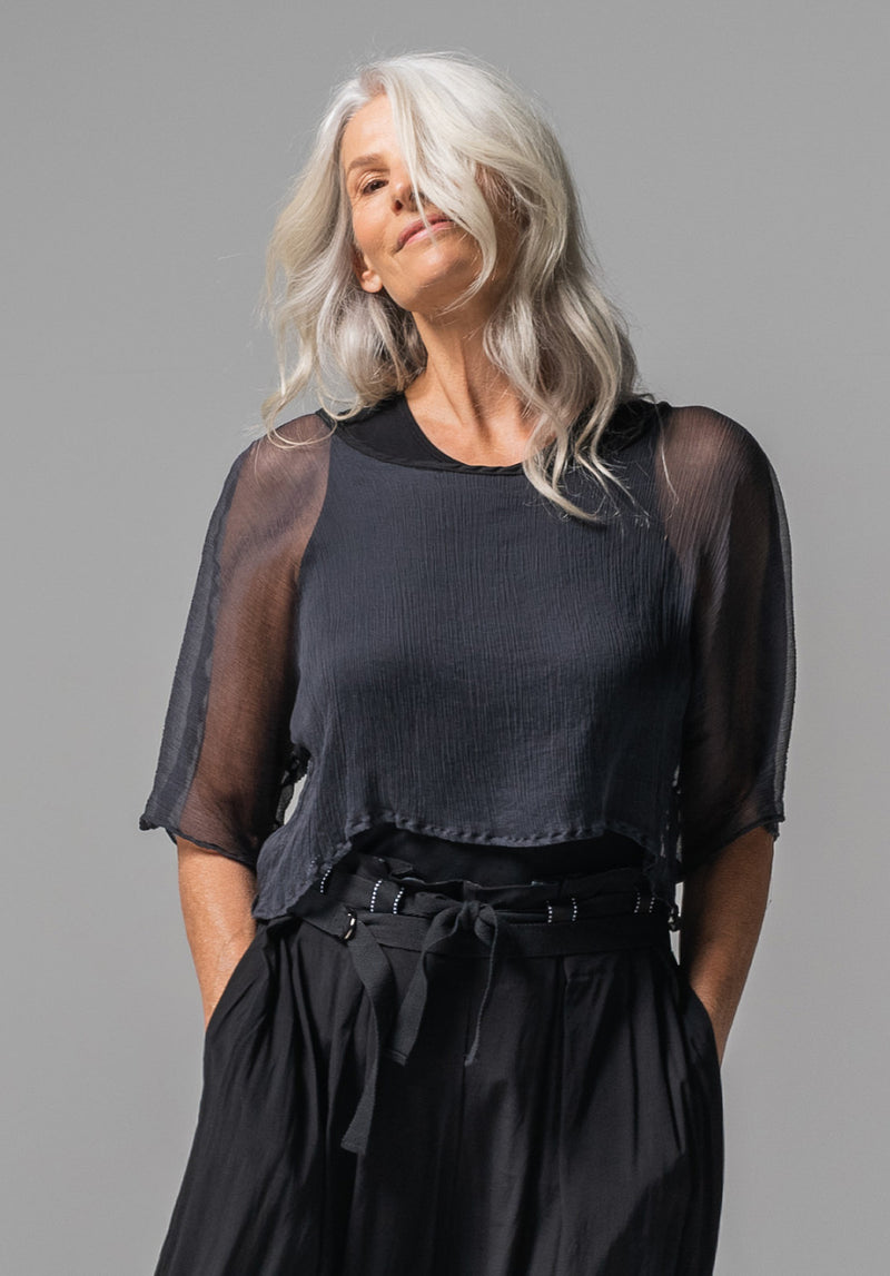 Archive top charcoal silk