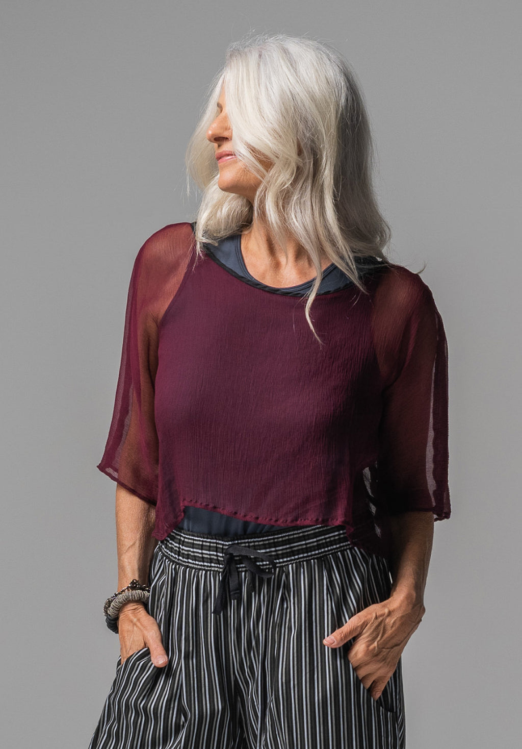 Archive top plum silk