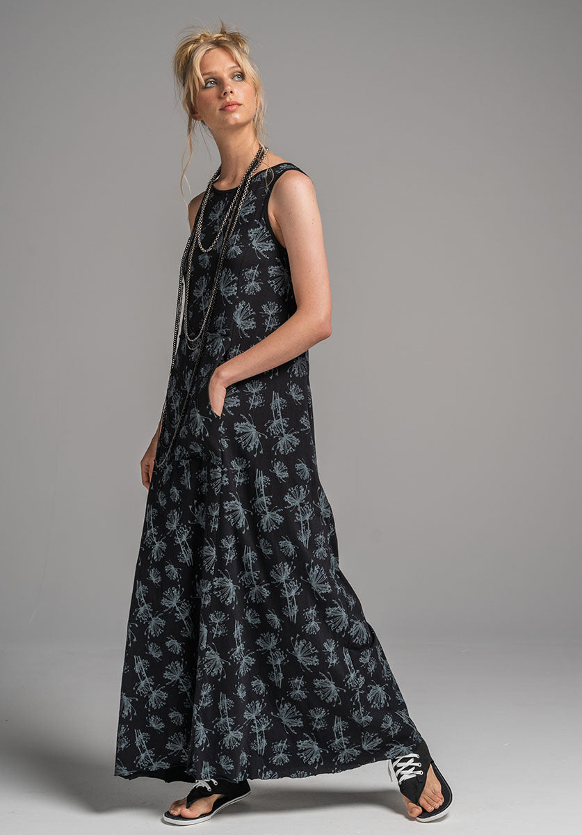 Blythe Maxi dress black dill print