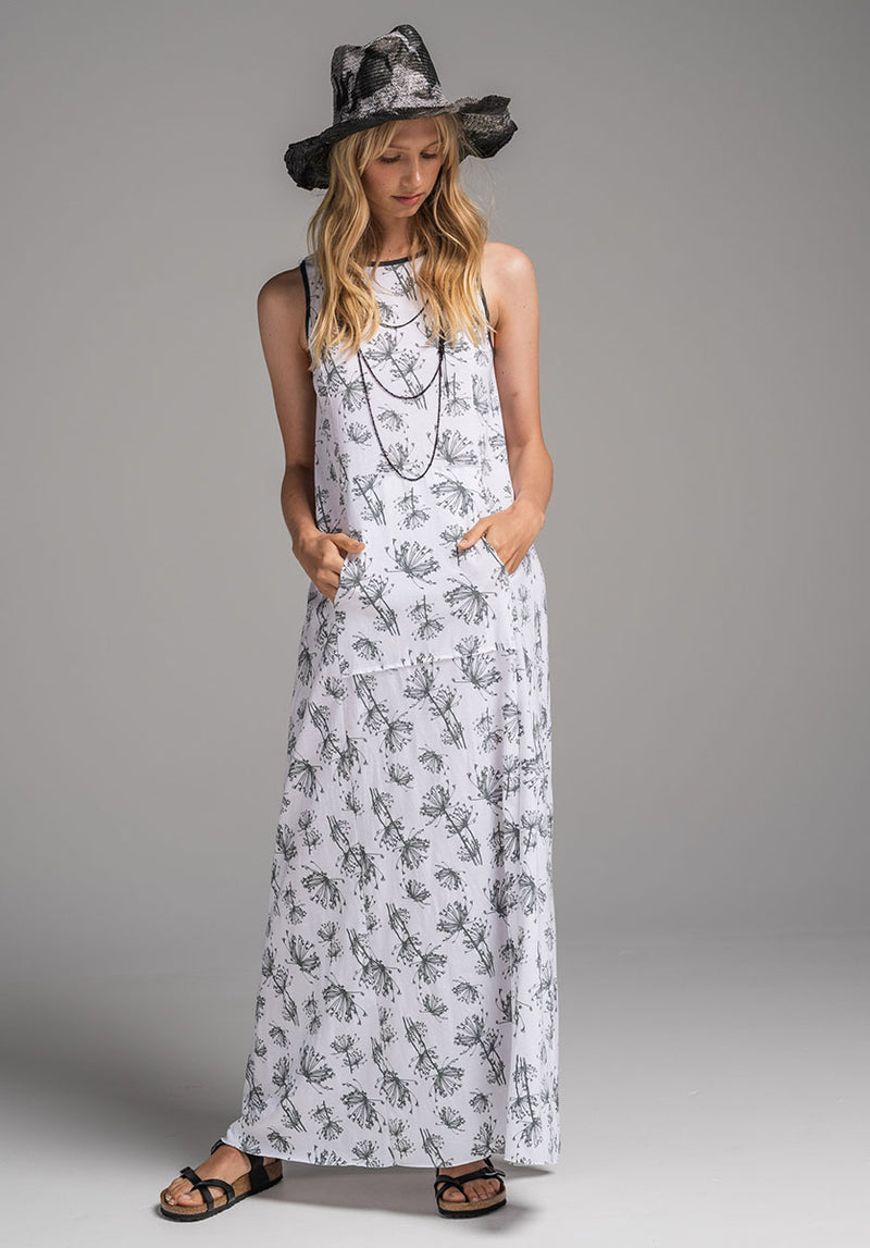 Blythe Maxi dress white dill print