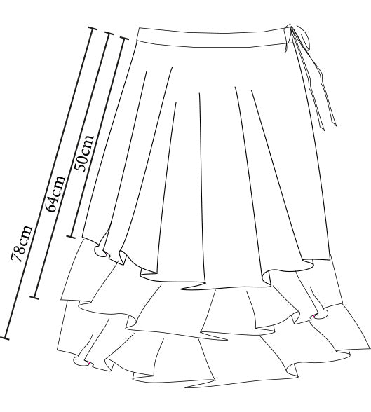 Enigma skirt 3-tier silver/silver/charcoal