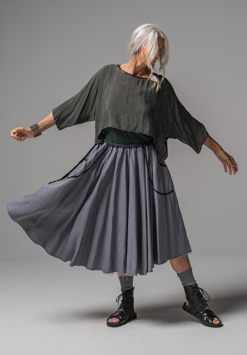 Fade midi skirt grey tencel