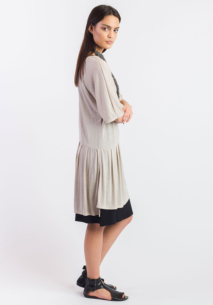 Fusion dress natural cupro linen