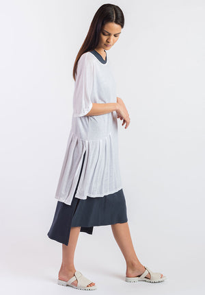 Fusion dress white cupro linen