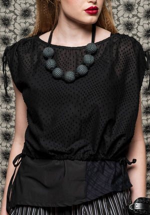 Chamomile top flocked black cotton