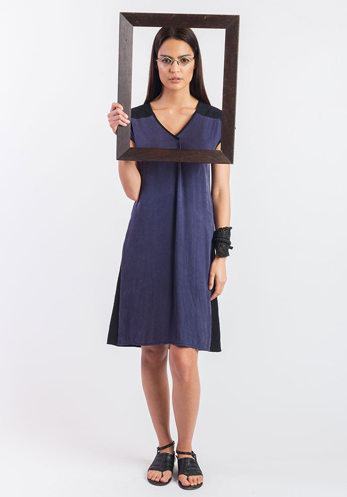 Juxtapose dress navy cupro