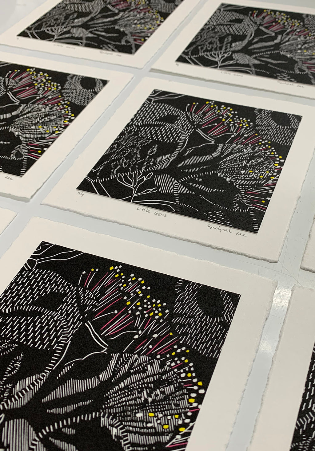 'Little Gems' linocut print