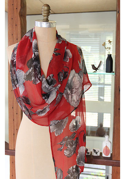 Matisse silk scarf red
