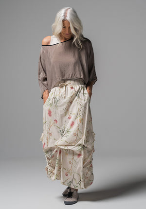 Archive top taupe cupro