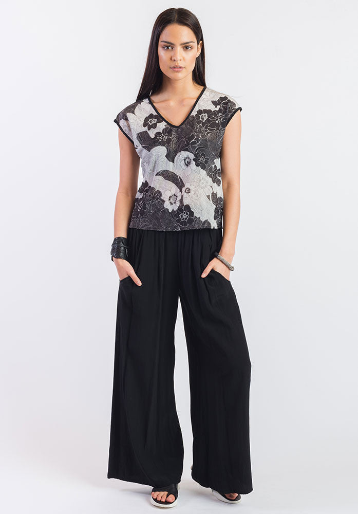 Moonflower top montage blk/grey
