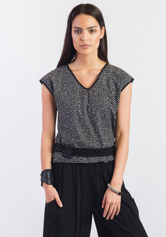 Moonflower top dotty cotton