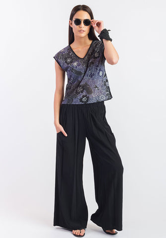 Moonflower top montage purple/blk