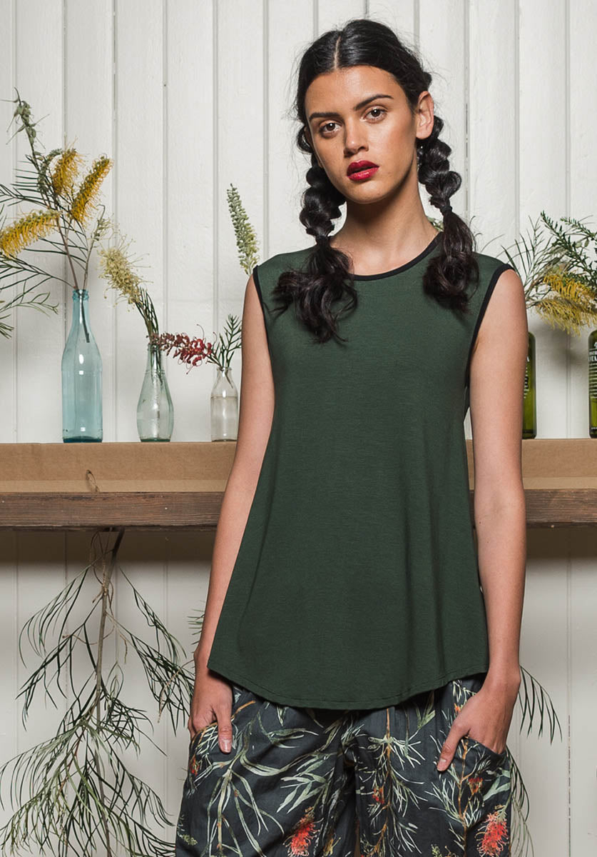 Nancy top Moss | 100% Australian Made and Ethical | Bamboo Fashion