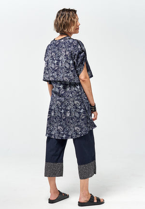 Recline short dress indigo print