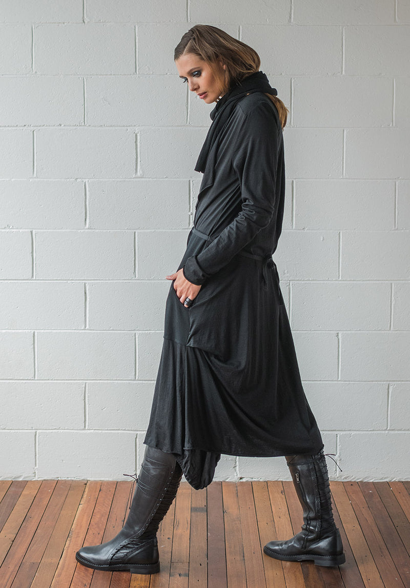 Facade coat black merino