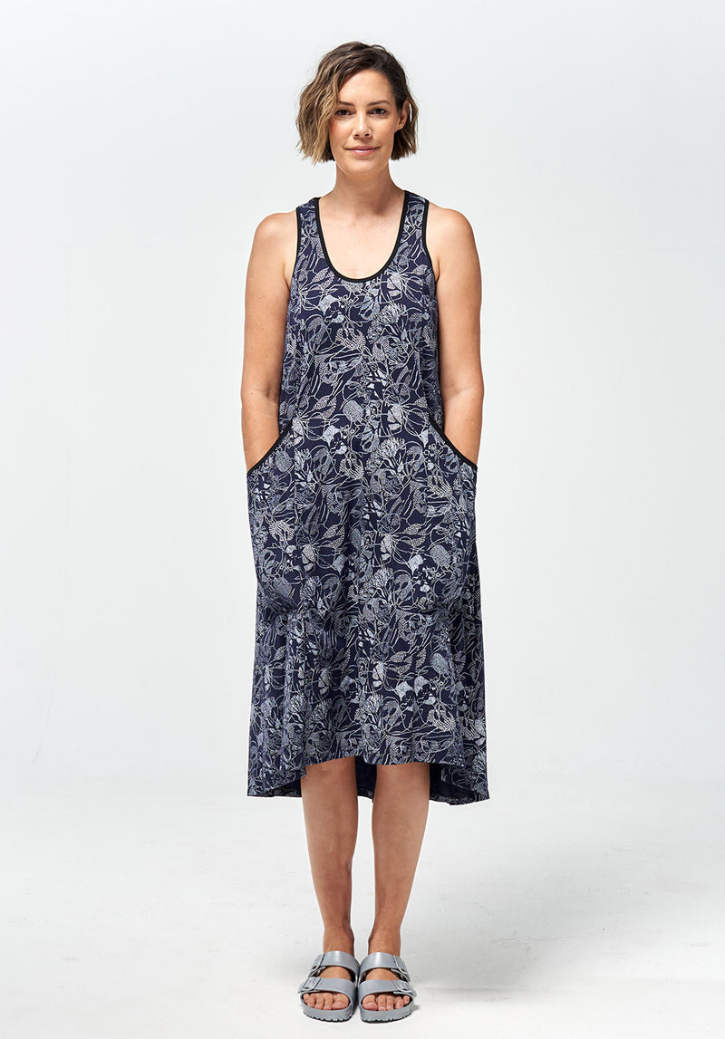 Recline midi dress indigo print