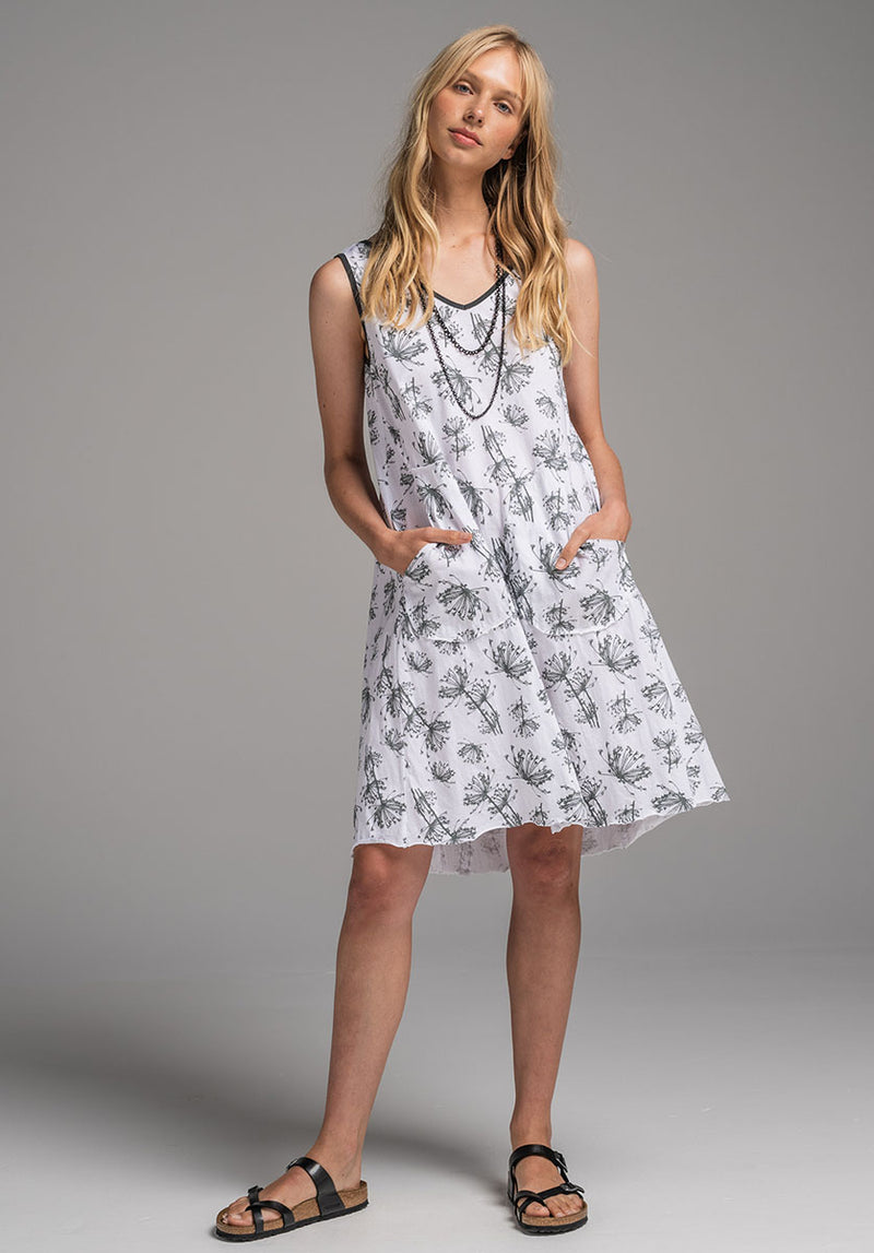 Rose dress white dill print