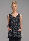 Rose tunic black dill print