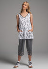 Rose tunic white dill print