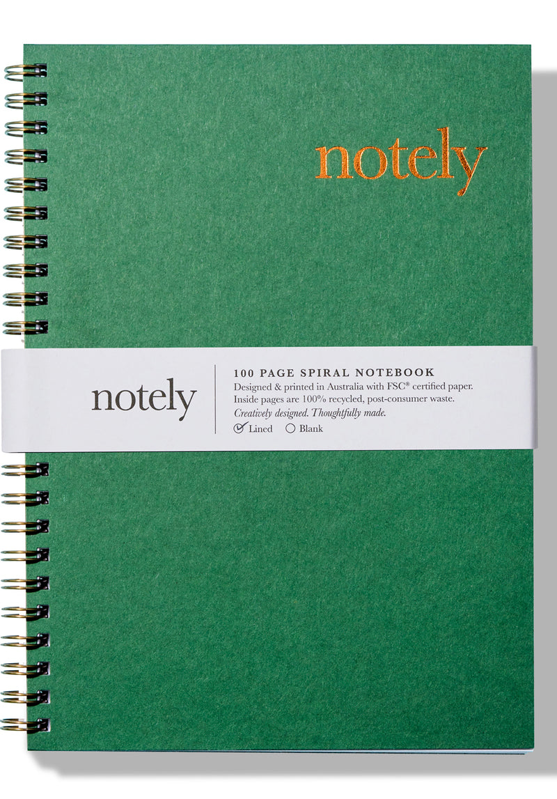 Notely A5 Spiral Notebook - Forest Green & Copper