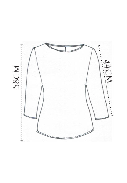 Sibyl 3/4 top white mercerised cotton