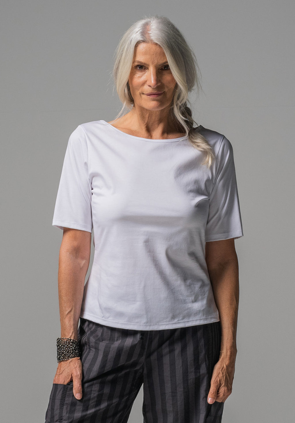 Sibyl tee white mercerised cotton
