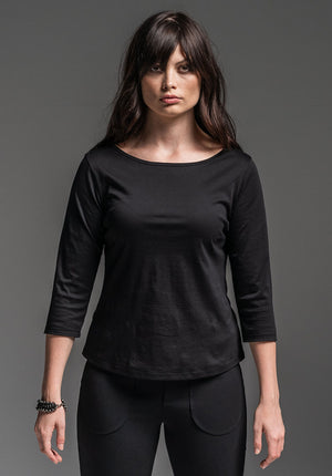 Sibyl 3/4 top black mercerised cotton