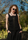 Sylvan top black embroidered linen