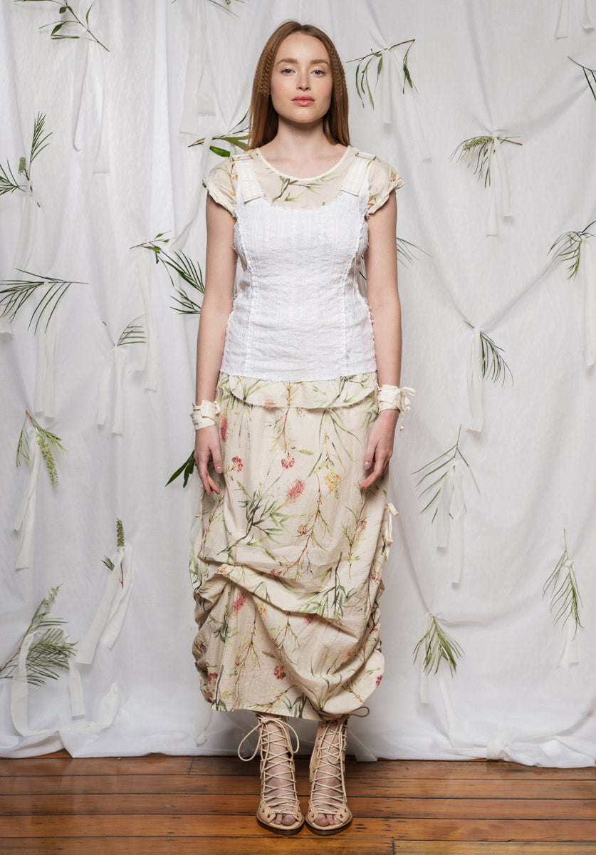 Sylvan top natural embroidered linen